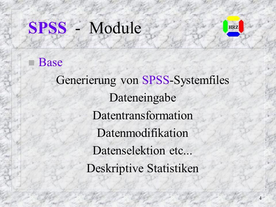 SPSS - Module Base Generierung von SPSS-Systemfiles Dateneingabe