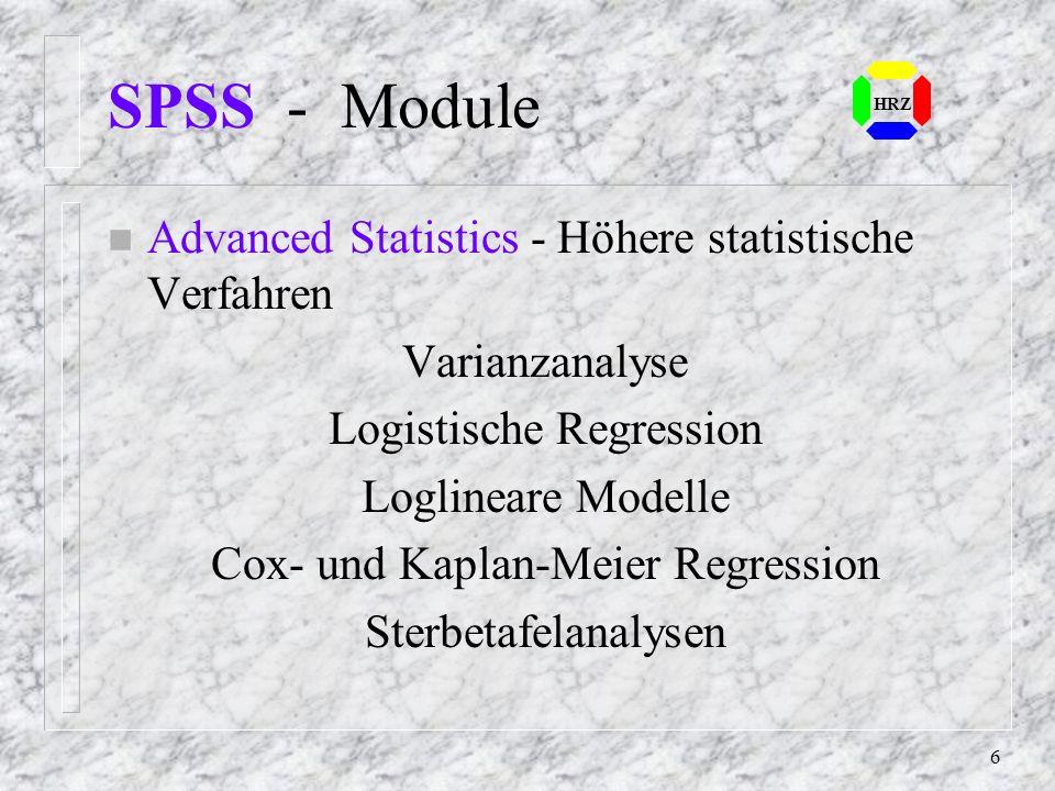 SPSS - Module Advanced Statistics - Höhere statistische Verfahren