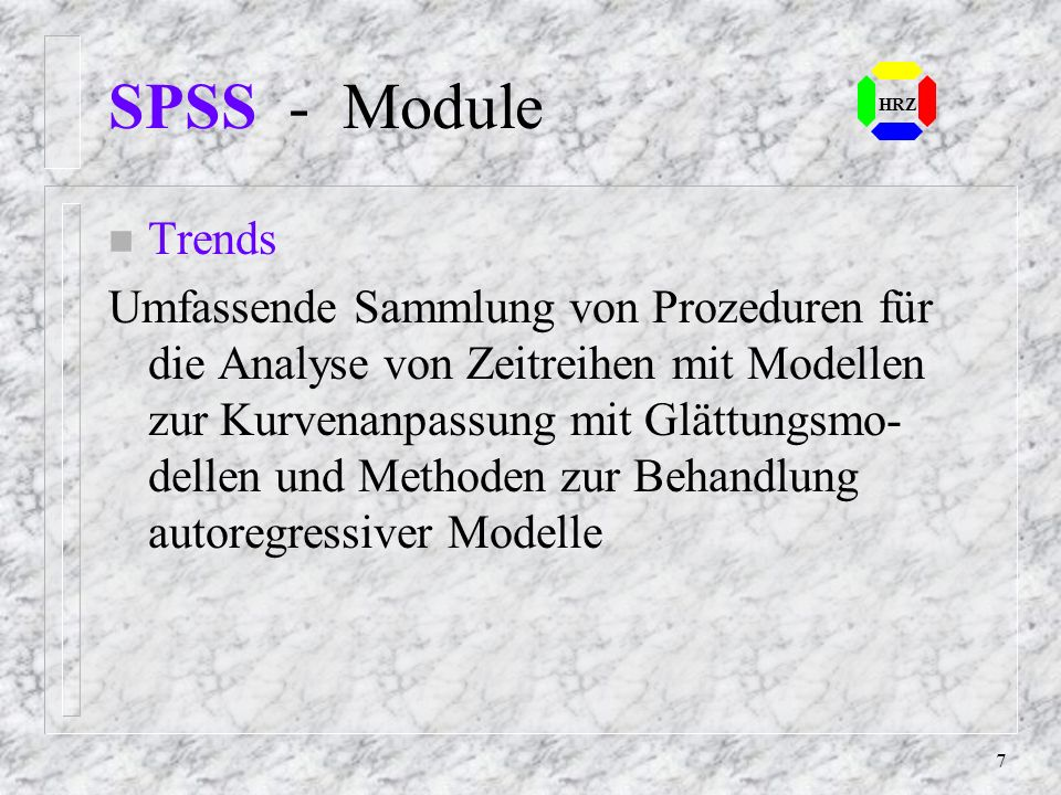 SPSS - ModuleHRZ. Trends.