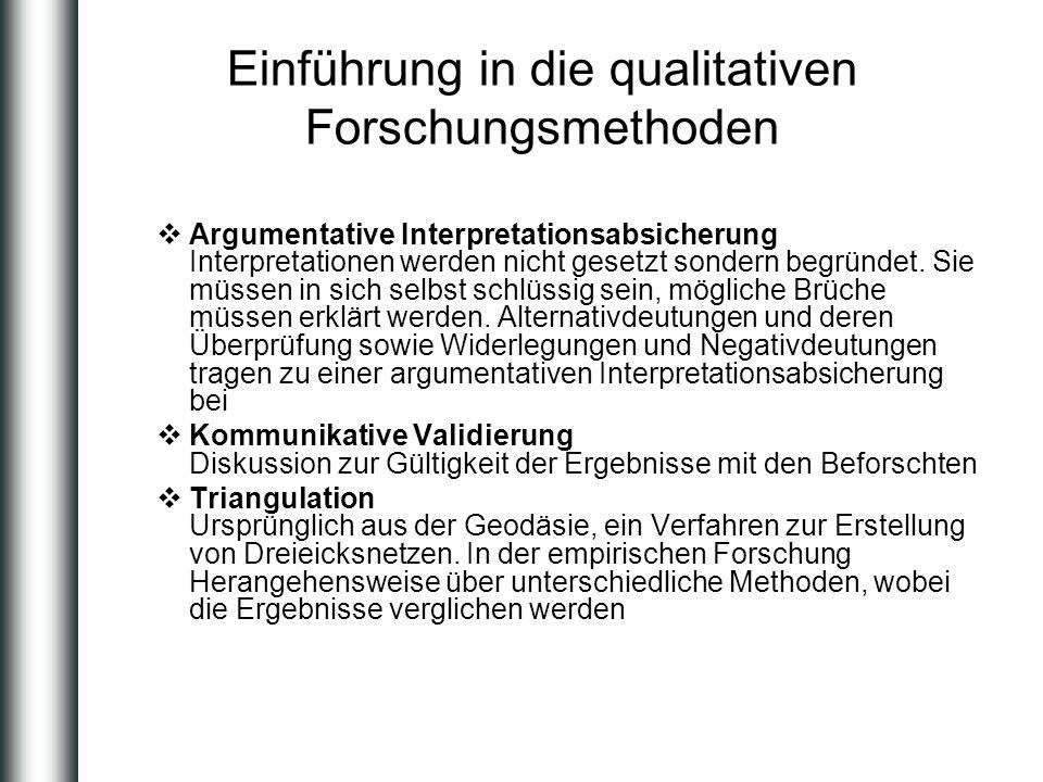 Einführung in die qualitativen Forschungsmethoden