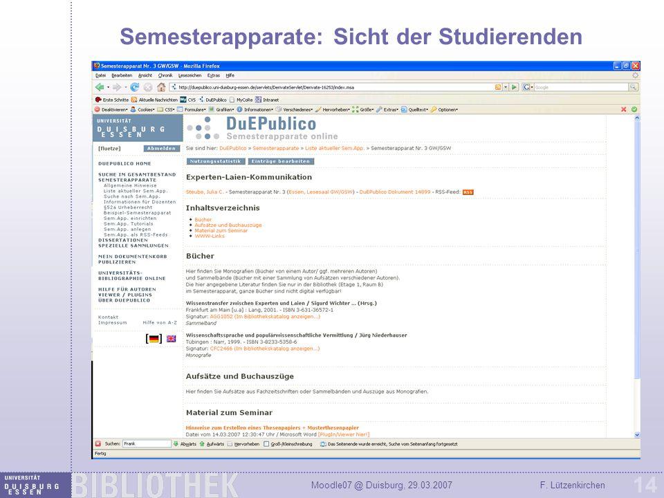 Semesterapparate: Sicht der Studierenden