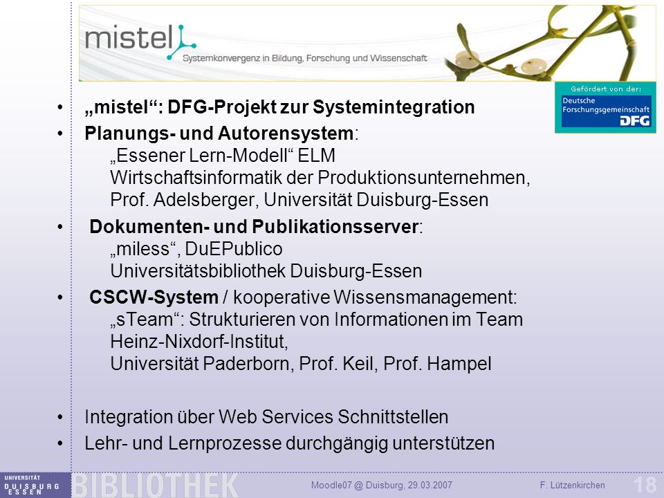 """mistel : DFG-Projekt zur Systemintegration"