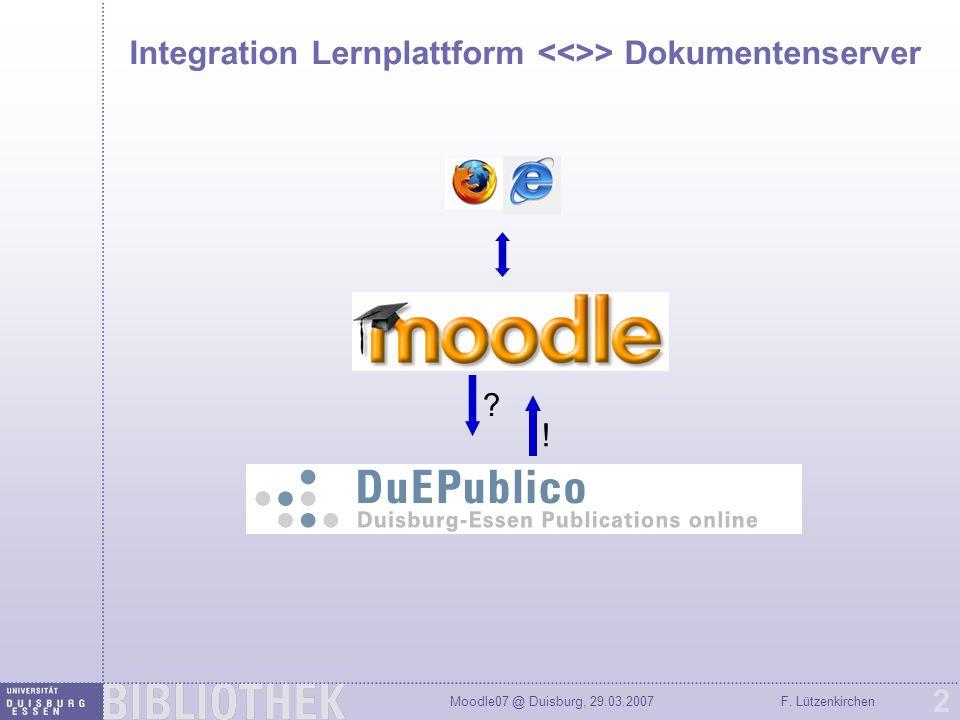 Integration Lernplattform <<>> Dokumentenserver