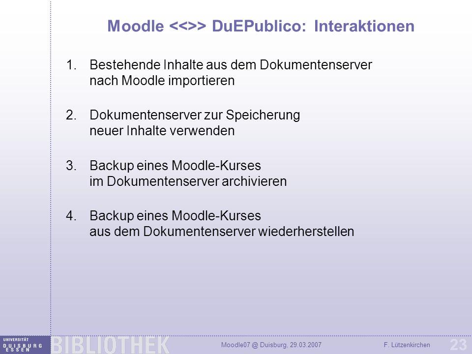 Moodle <<>> DuEPublico: Interaktionen