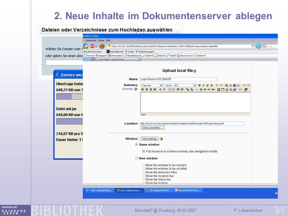 2. Neue Inhalte im Dokumentenserver ablegen