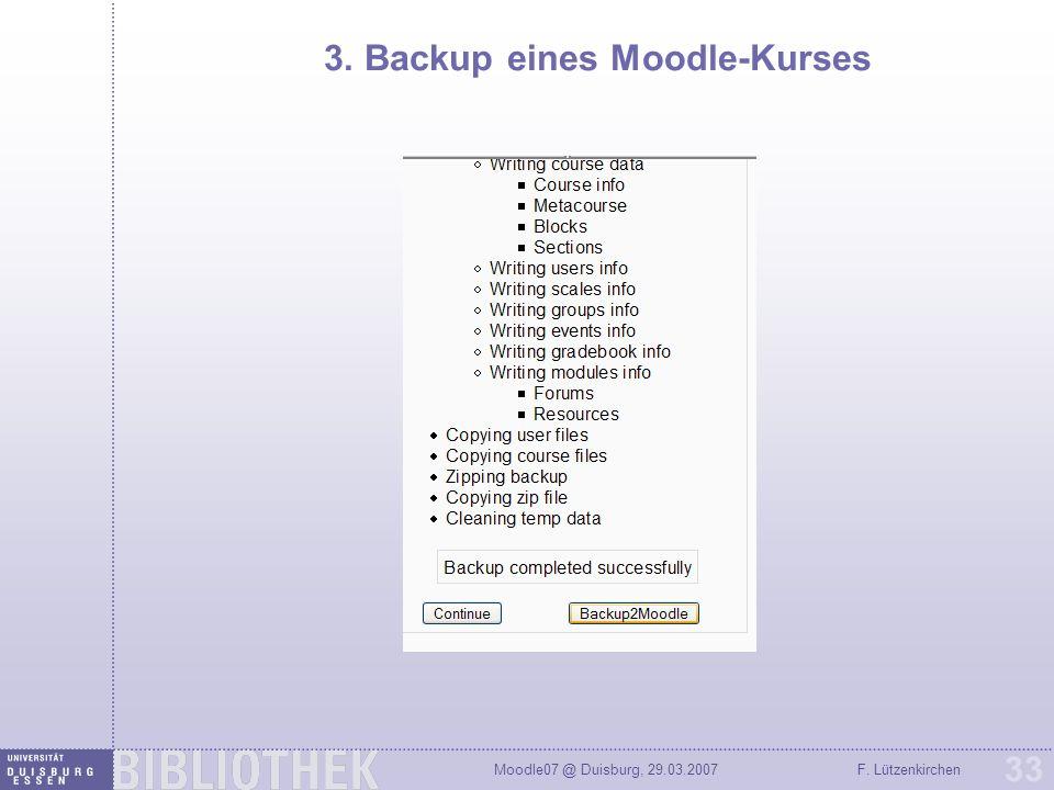 3. Backup eines Moodle-Kurses