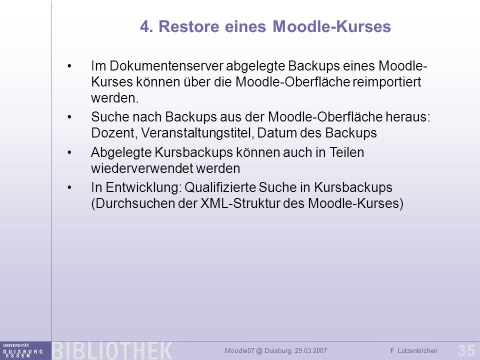 4. Restore eines Moodle-Kurses
