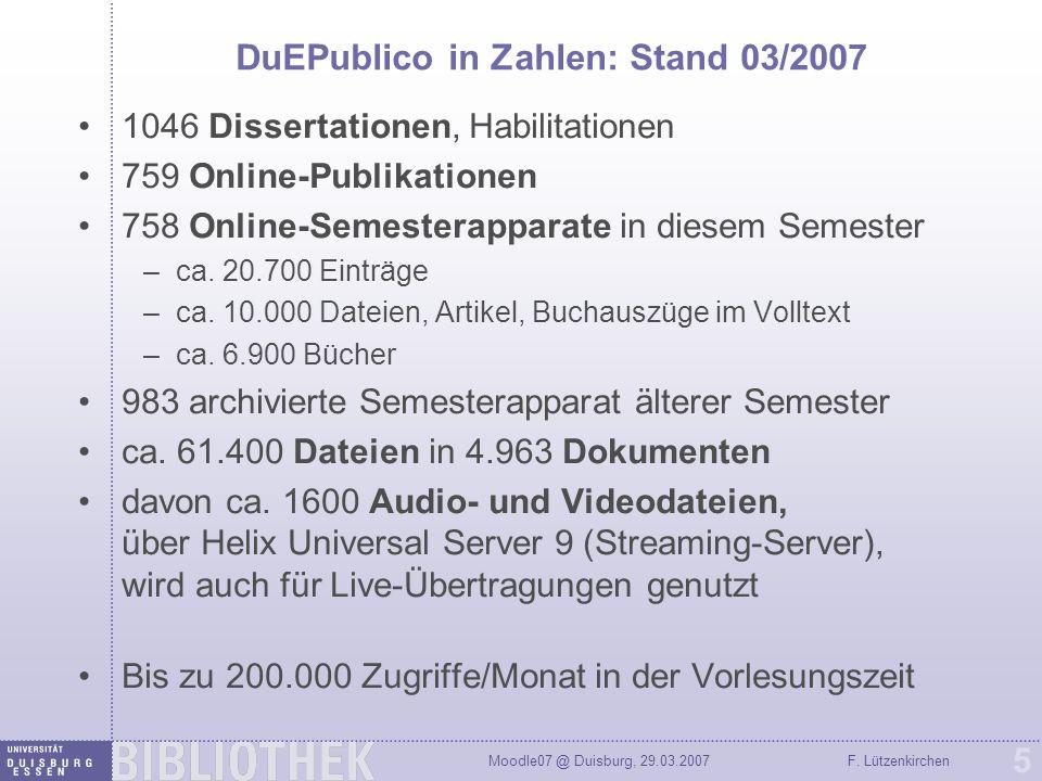 DuEPublico in Zahlen: Stand 03/2007
