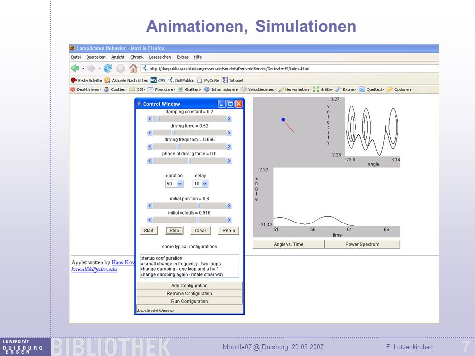 Animationen, Simulationen