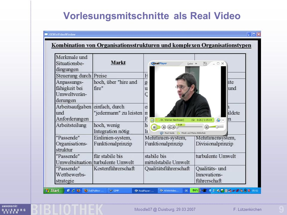 Vorlesungsmitschnitte als Real Video