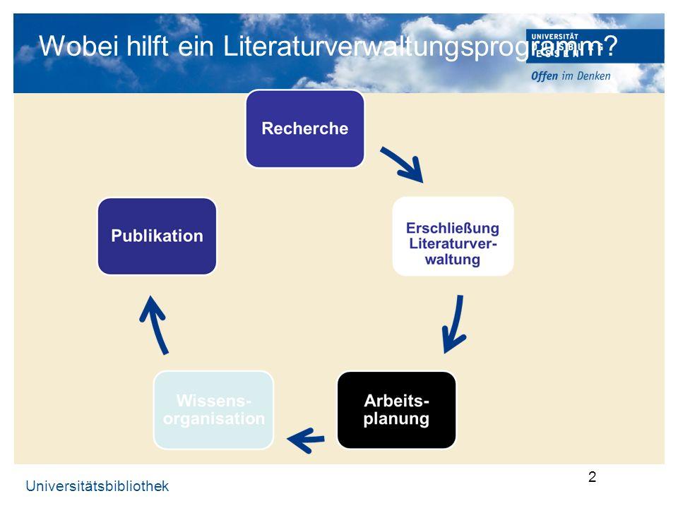 Wobei hilft ein Literaturverwaltungsprogramm