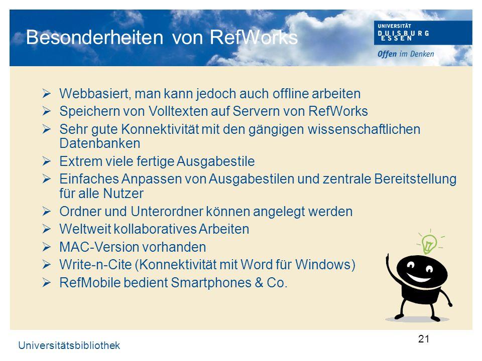 Besonderheiten von RefWorks