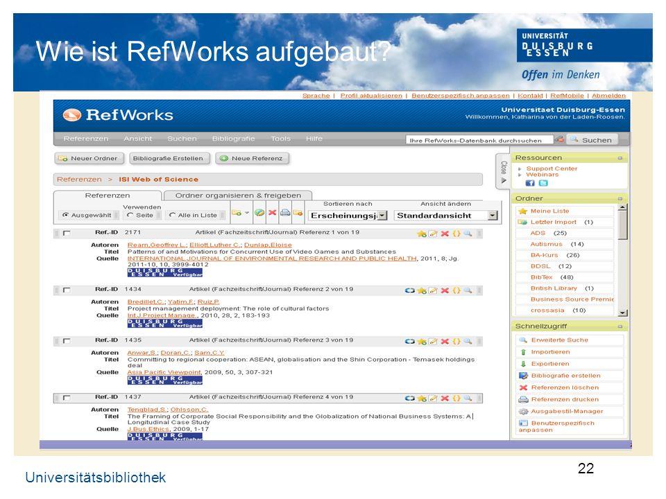Wie ist RefWorks aufgebaut