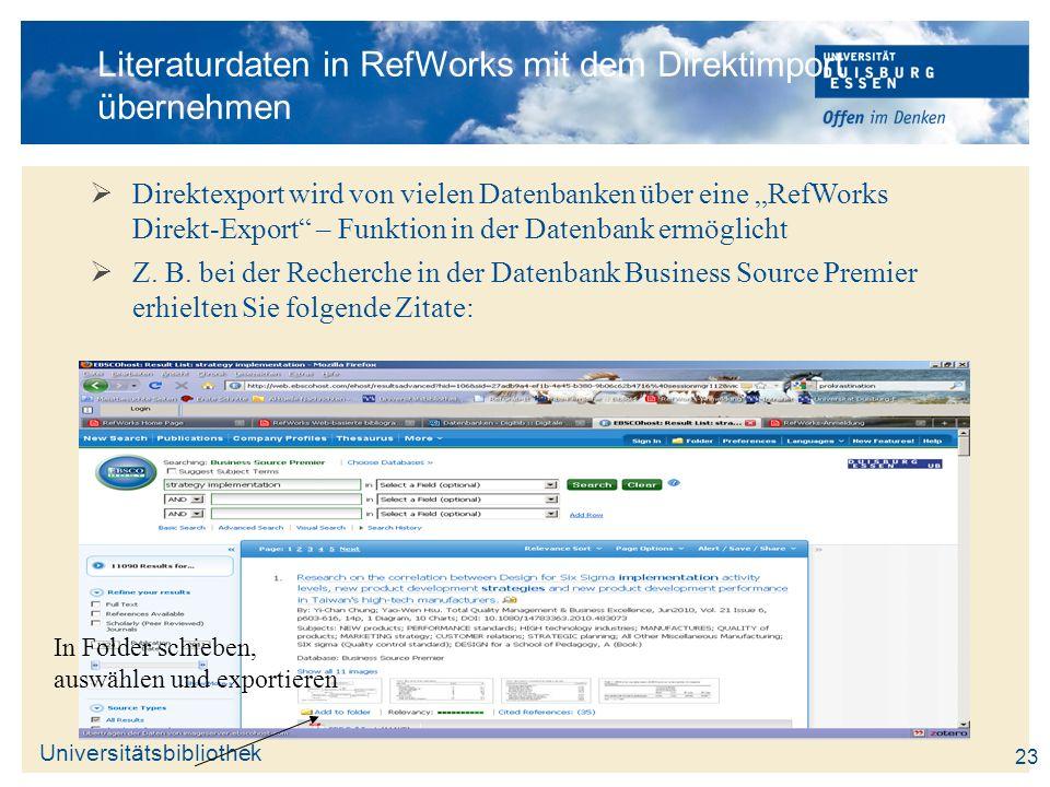 Literaturdaten in RefWorks mit dem Direktimport übernehmen