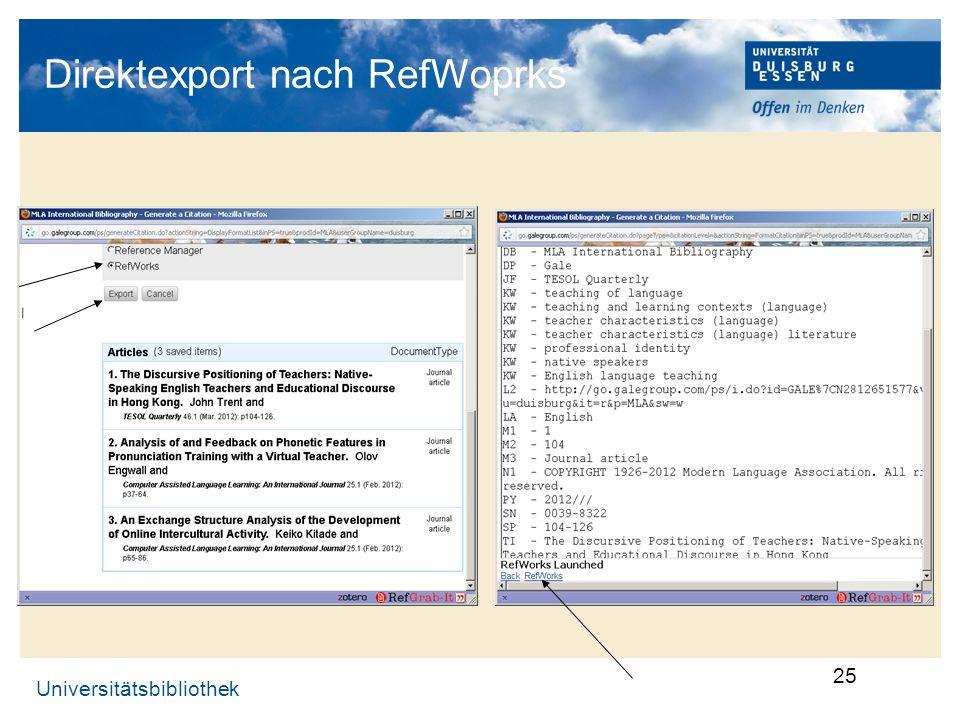 Direktexport nach RefWoprks
