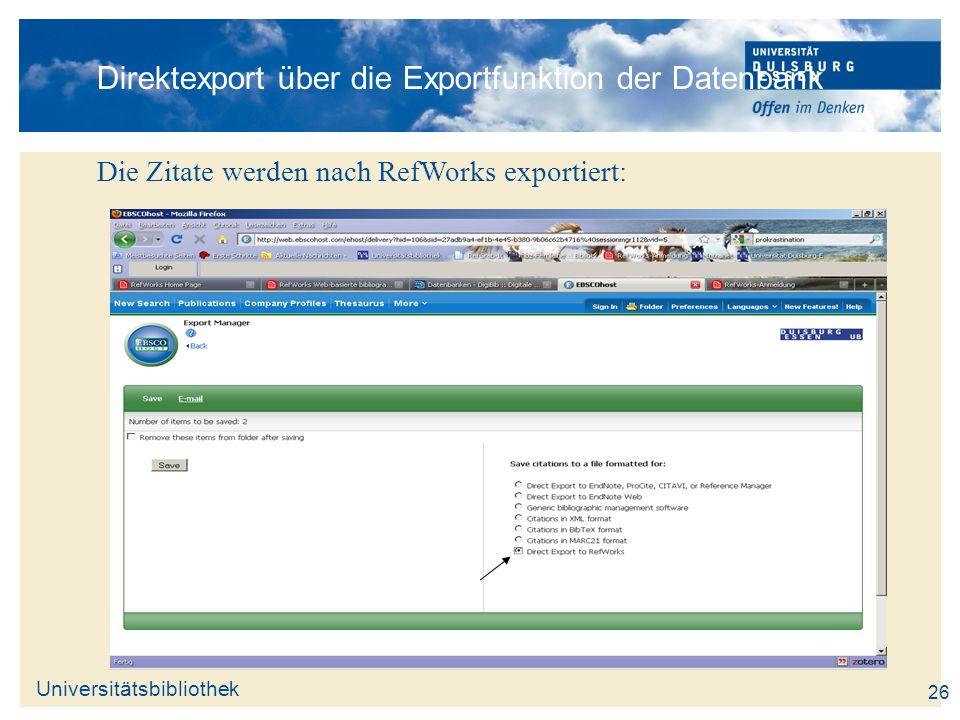 Direktexport über die Exportfunktion der Datenbank