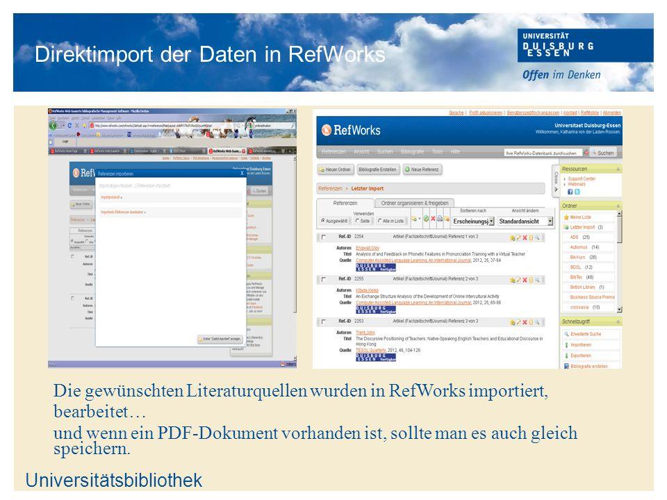 Direktimport der Daten in RefWorks
