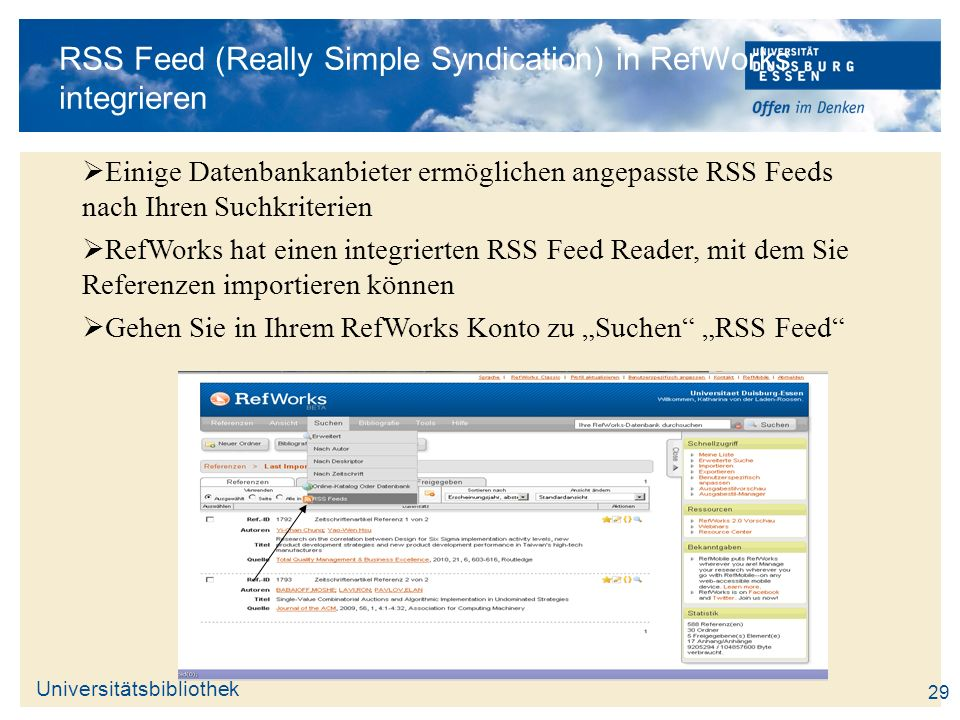 RSS Feed (Really Simple Syndication) in RefWorks integrieren