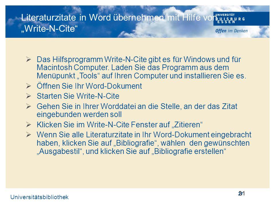 """Literaturzitate in Word übernehmen mit Hilfe von """"Write-N-Cite"""
