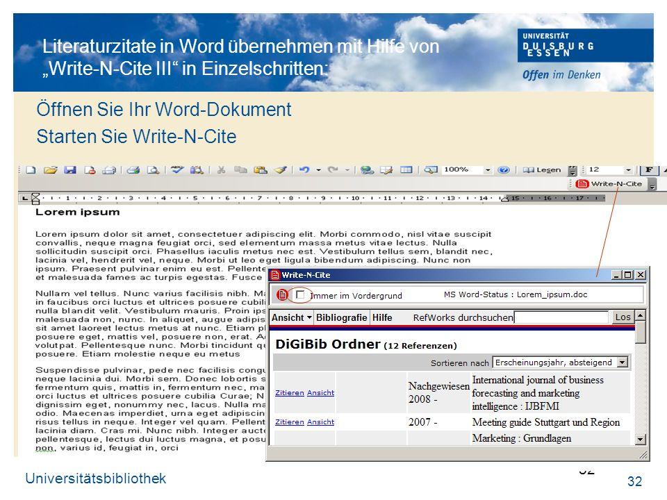 Öffnen Sie Ihr Word-Dokument Starten Sie Write-N-Cite