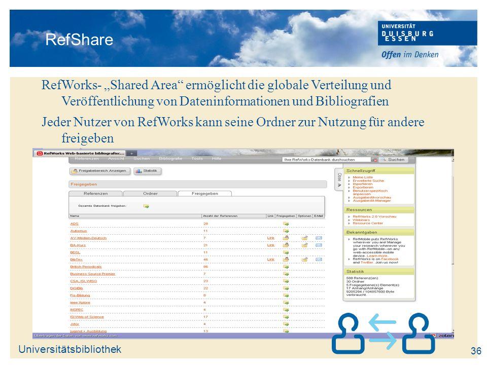 """RefShare RefWorks- """"Shared Area ermöglicht die globale Verteilung und Veröffentlichung von Dateninformationen und Bibliografien."""