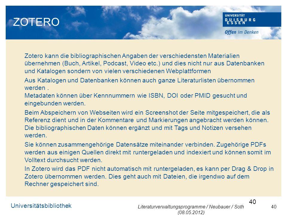 Literaturverwaltungsprogramme / Neubauer / Soth (08.05.2012)