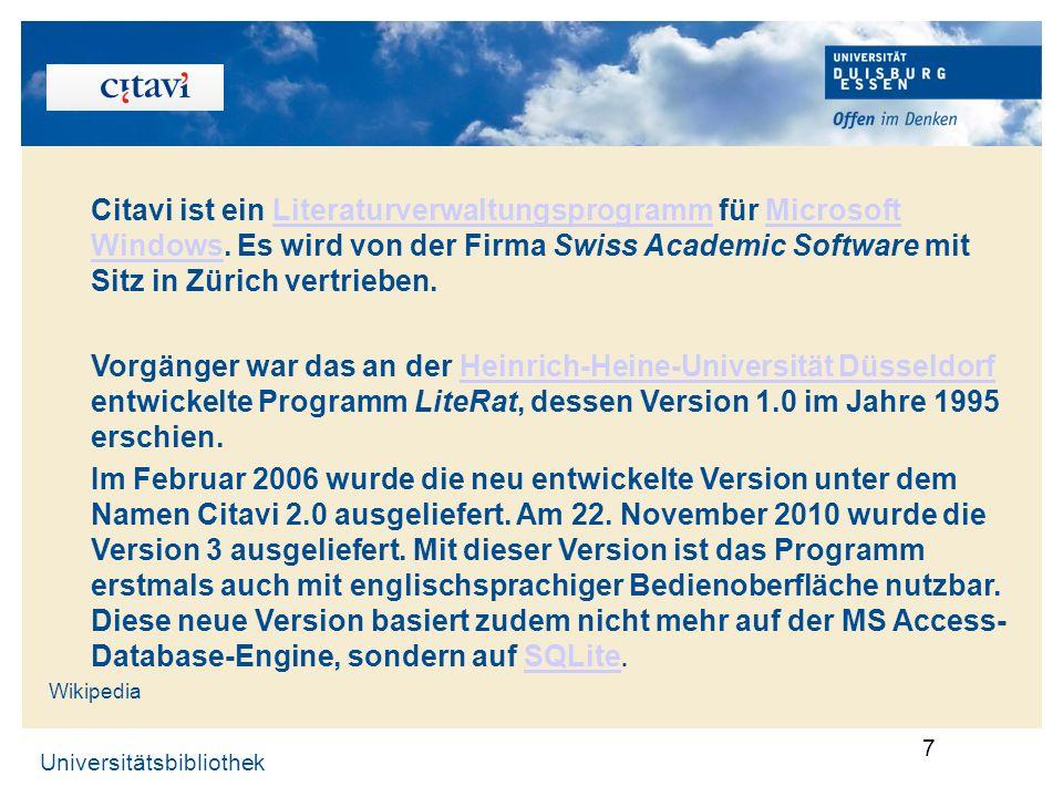 . Citavi ist ein Literaturverwaltungsprogramm für Microsoft Windows. Es wird von der Firma Swiss Academic Software mit Sitz in Zürich vertrieben.