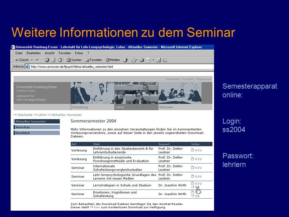 Weitere Informationen zu dem Seminar