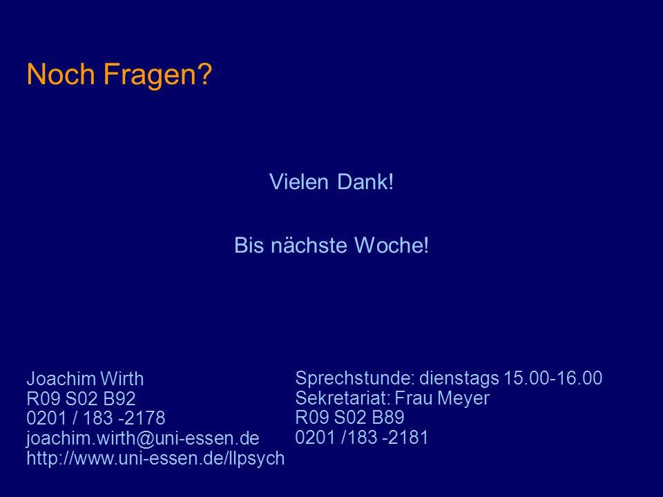 Noch Fragen Vielen Dank! Bis nächste Woche! Joachim Wirth