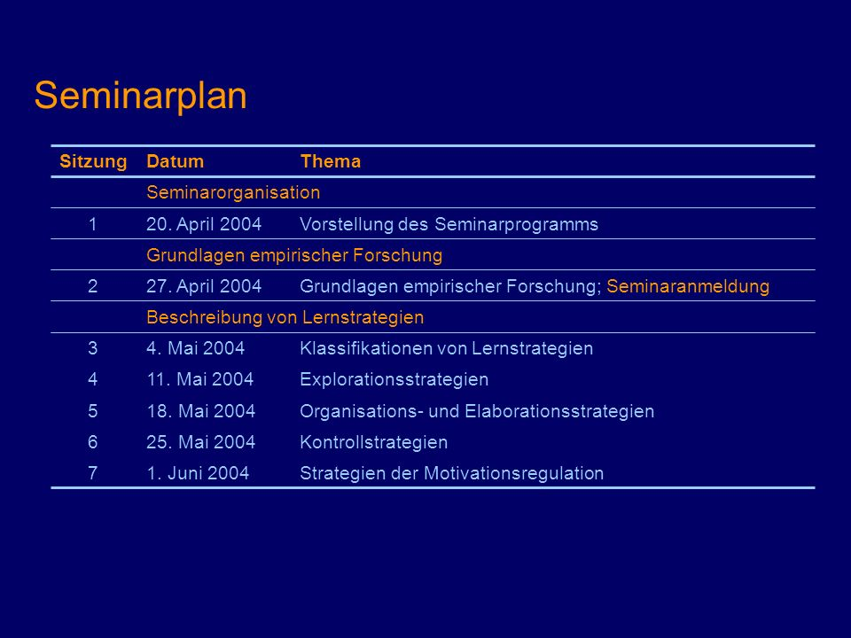 Seminarplan Sitzung Datum Thema Seminarorganisation 1 20. April 2004