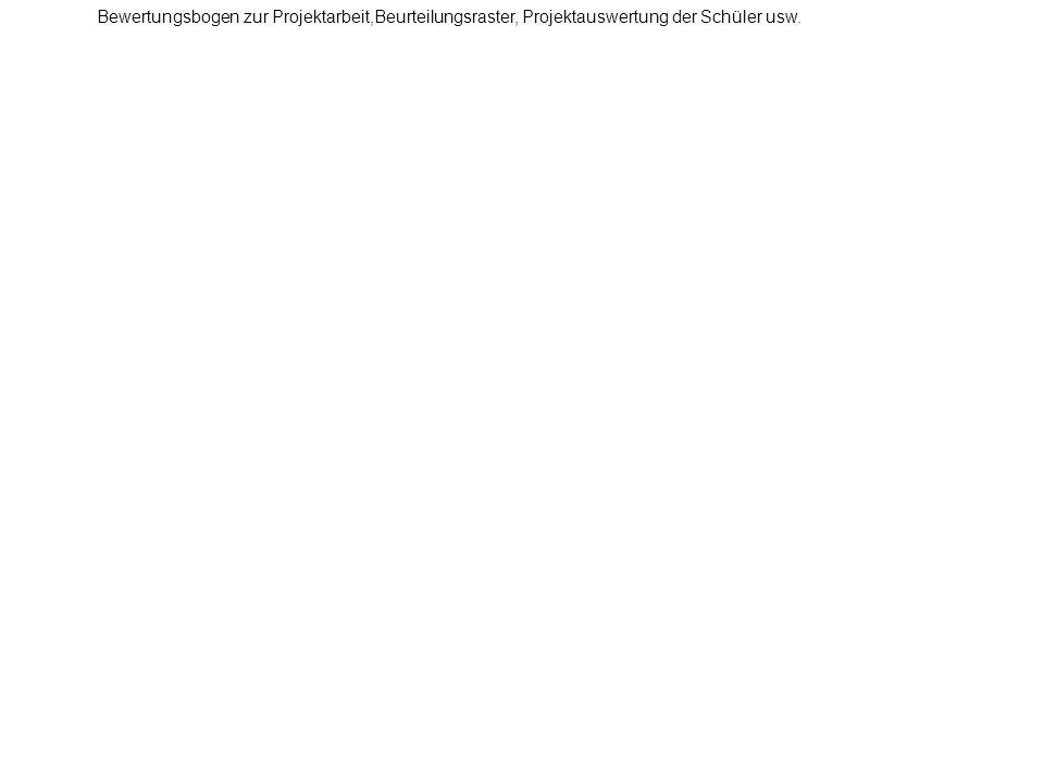 Bewertungsbogen zur Projektarbeit,Beurteilungsraster, Projektauswertung der Schüler usw.