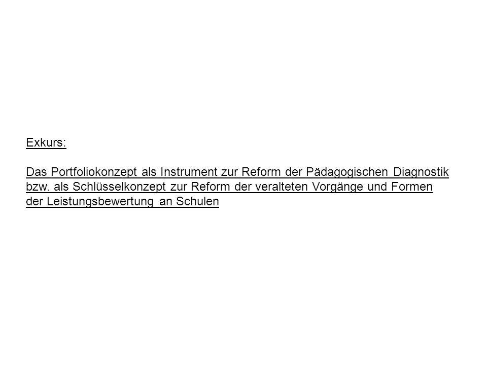 Exkurs: Das Portfoliokonzept als Instrument zur Reform der Pädagogischen Diagnostik.
