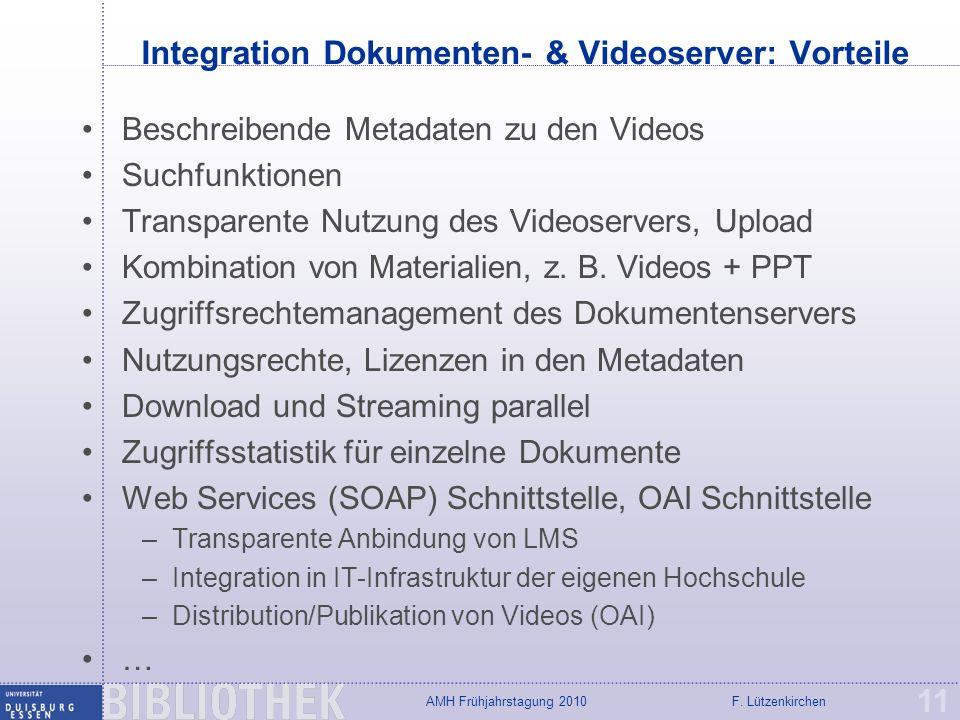 Integration Dokumenten- & Videoserver: Vorteile