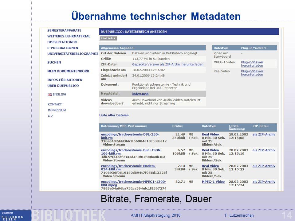 Übernahme technischer Metadaten