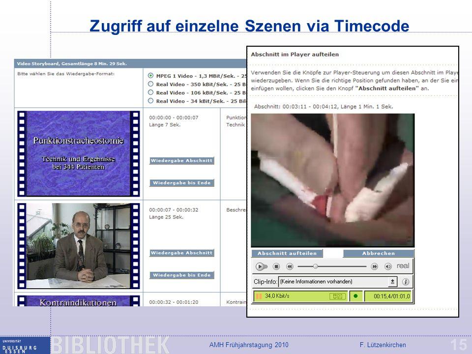 Zugriff auf einzelne Szenen via Timecode