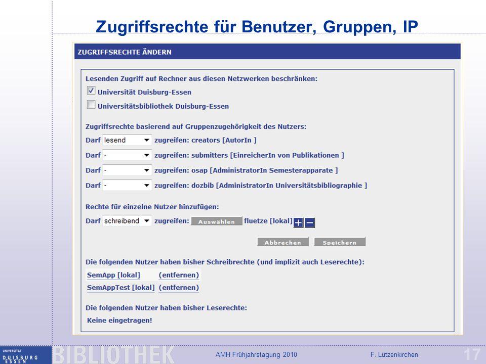 Zugriffsrechte für Benutzer, Gruppen, IP
