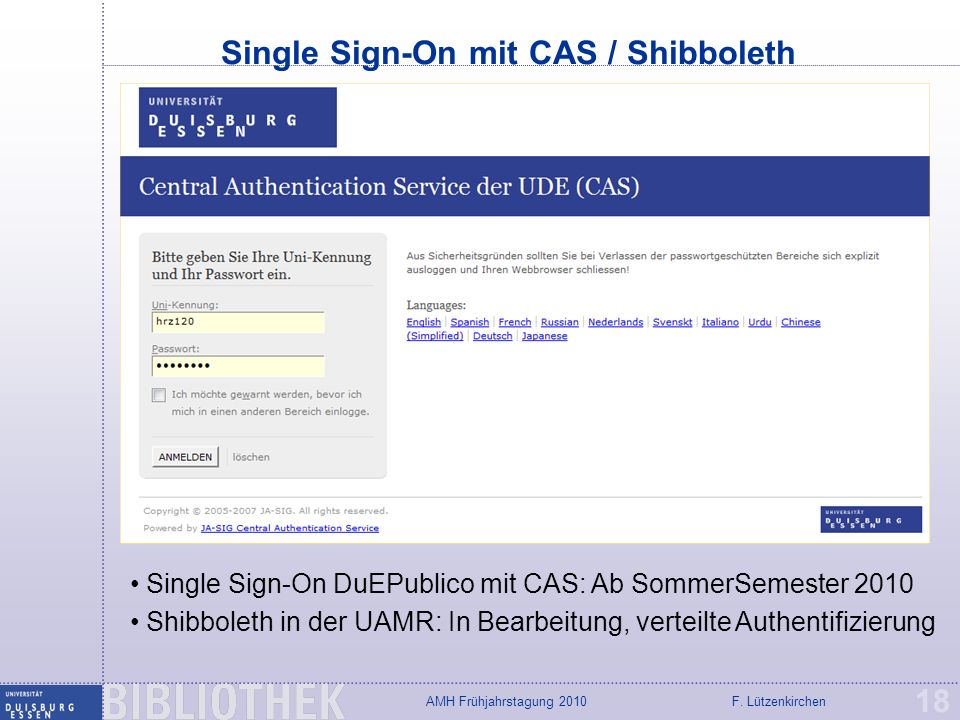Single Sign-On mit CAS / Shibboleth