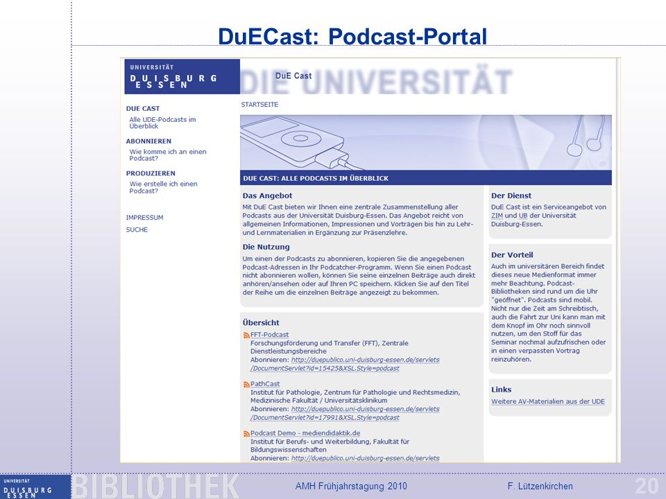 DuECast: Podcast-Portal