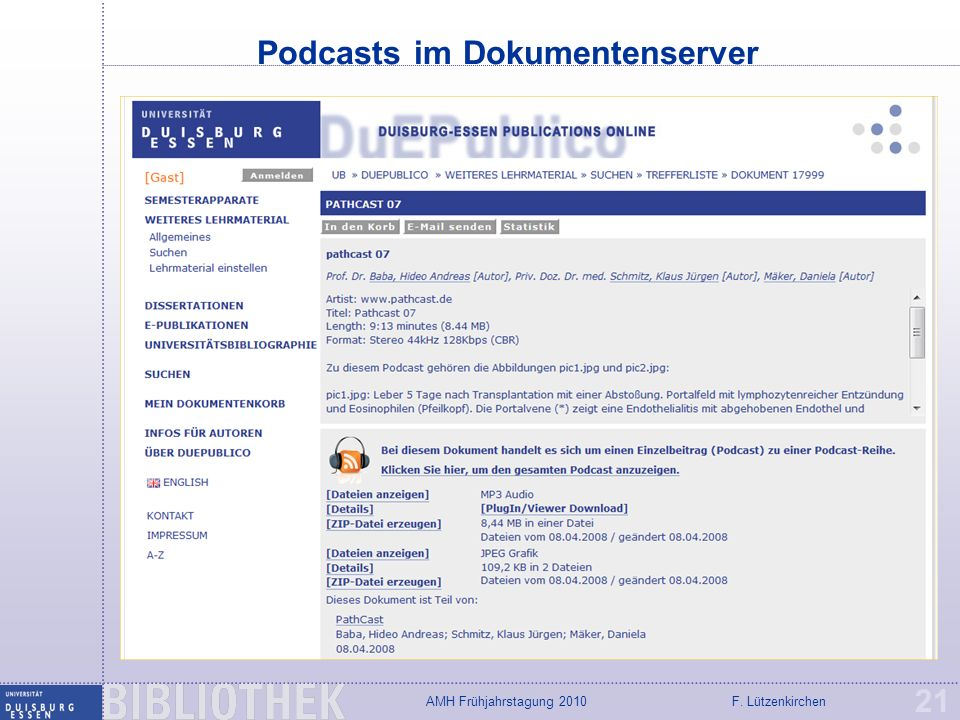 Podcasts im Dokumentenserver