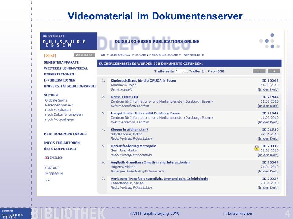 Videomaterial im Dokumentenserver
