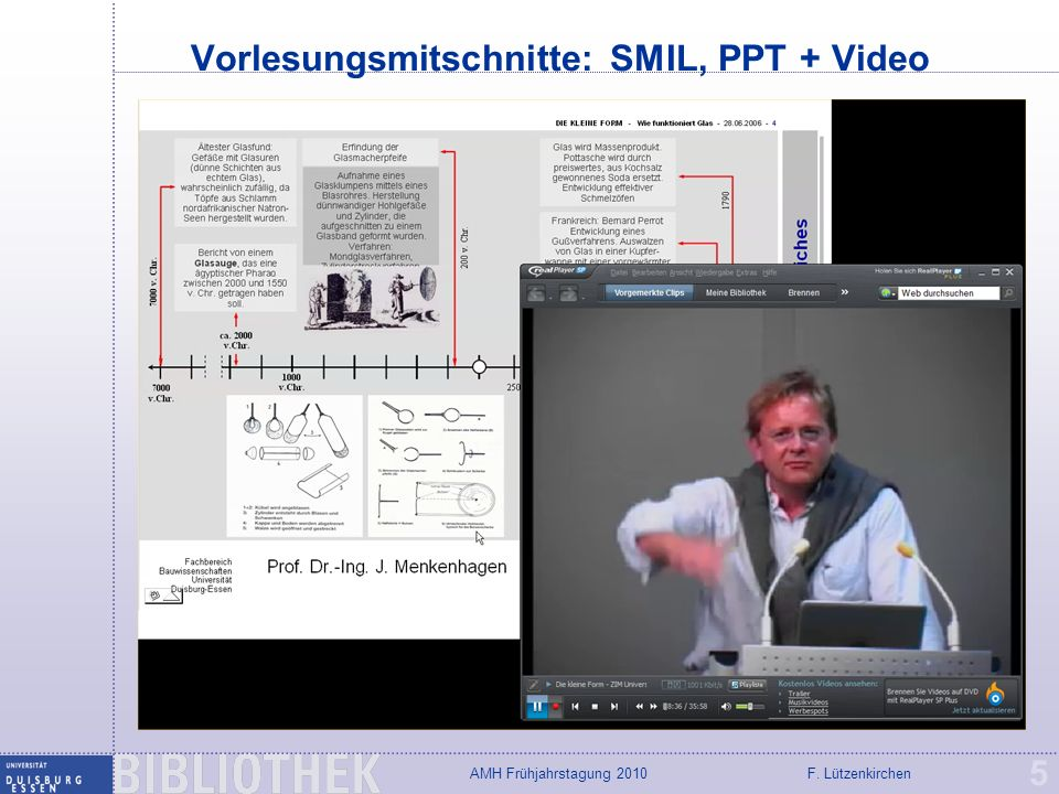 Vorlesungsmitschnitte: SMIL, PPT + Video