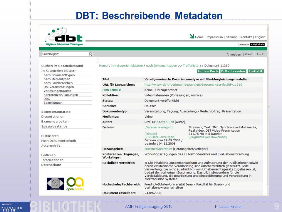 DBT: Beschreibende Metadaten