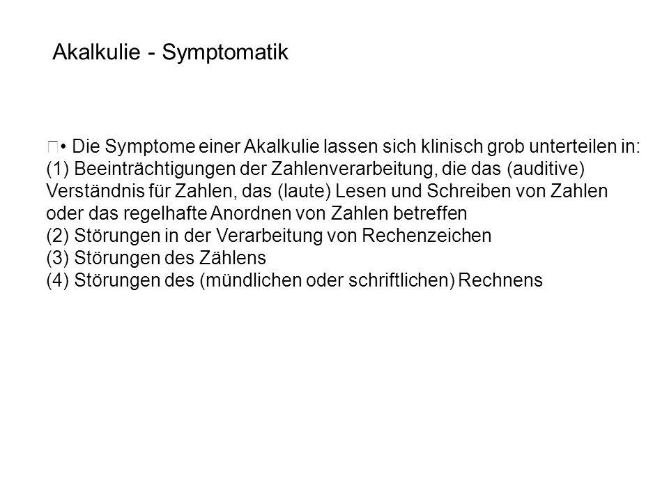 Akalkulie - Symptomatik