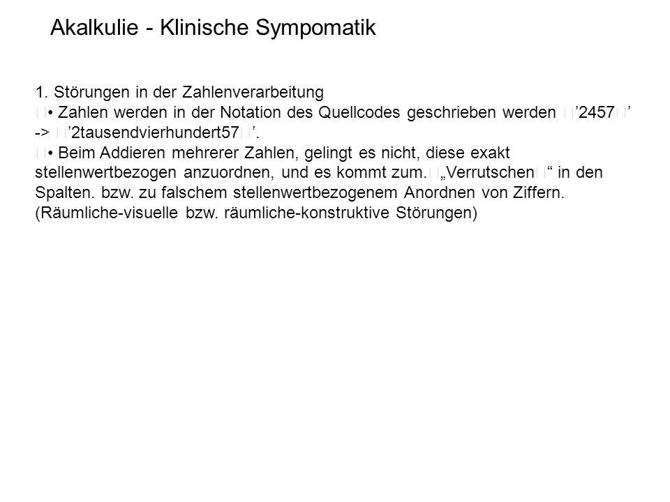 Akalkulie - Klinische Sympomatik