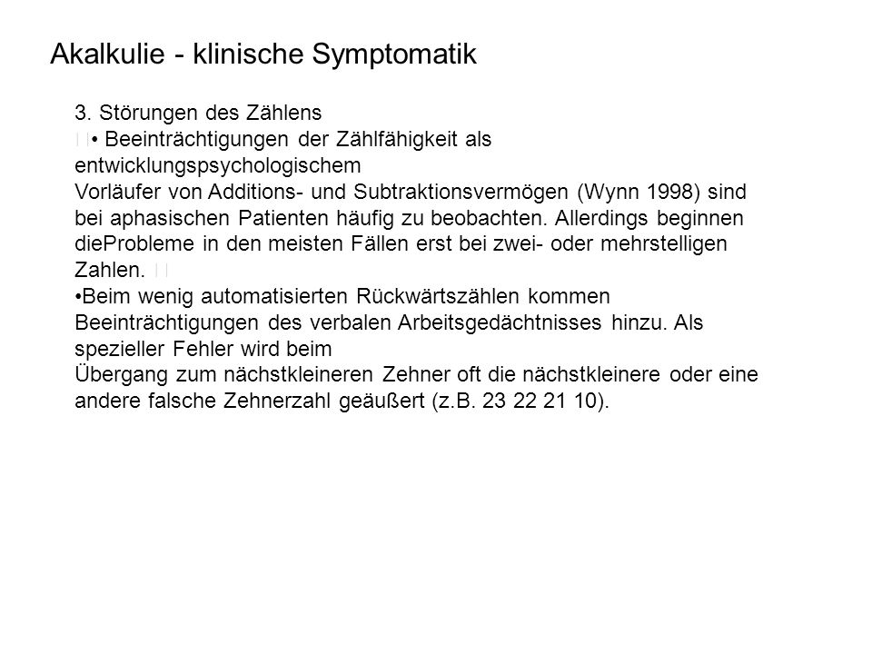 Akalkulie - klinische Symptomatik