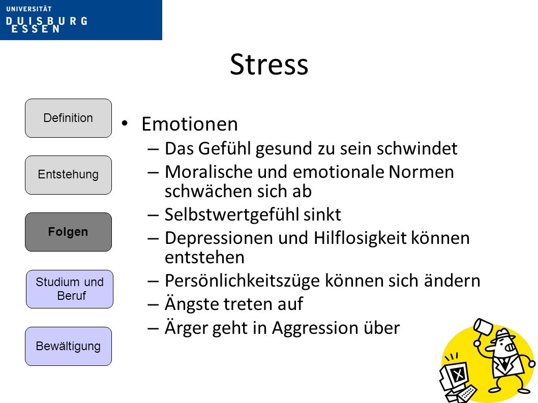 Stress Emotionen Das Gefühl gesund zu sein schwindet