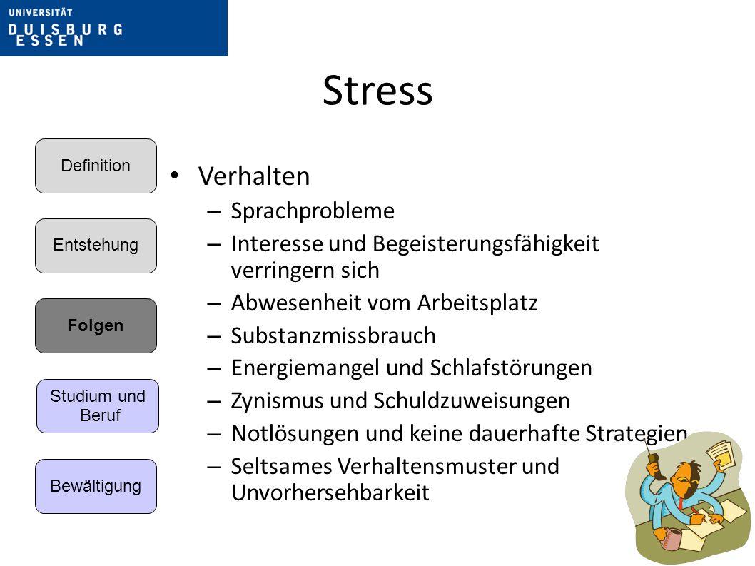 Stress Verhalten Sprachprobleme