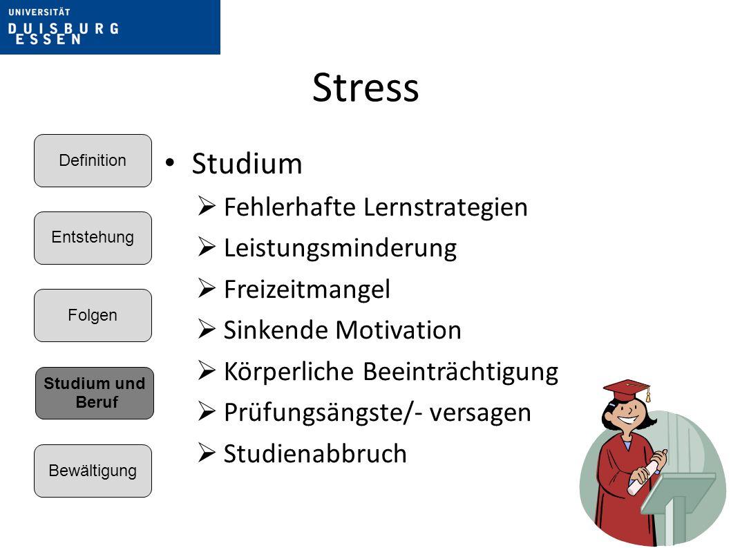 Stress Studium Fehlerhafte Lernstrategien Leistungsminderung