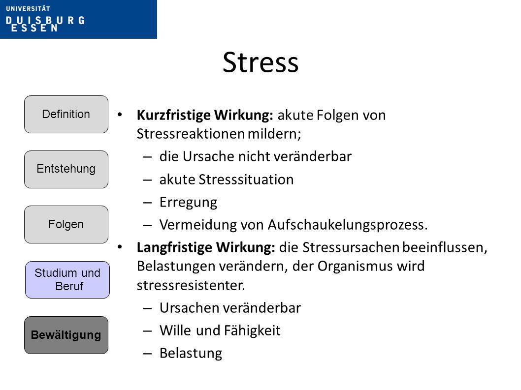 Stress Entstehung. Folgen. Bewältigung. Definition. Studium und. Beruf. Kurzfristige Wirkung: akute Folgen von Stressreaktionen mildern;