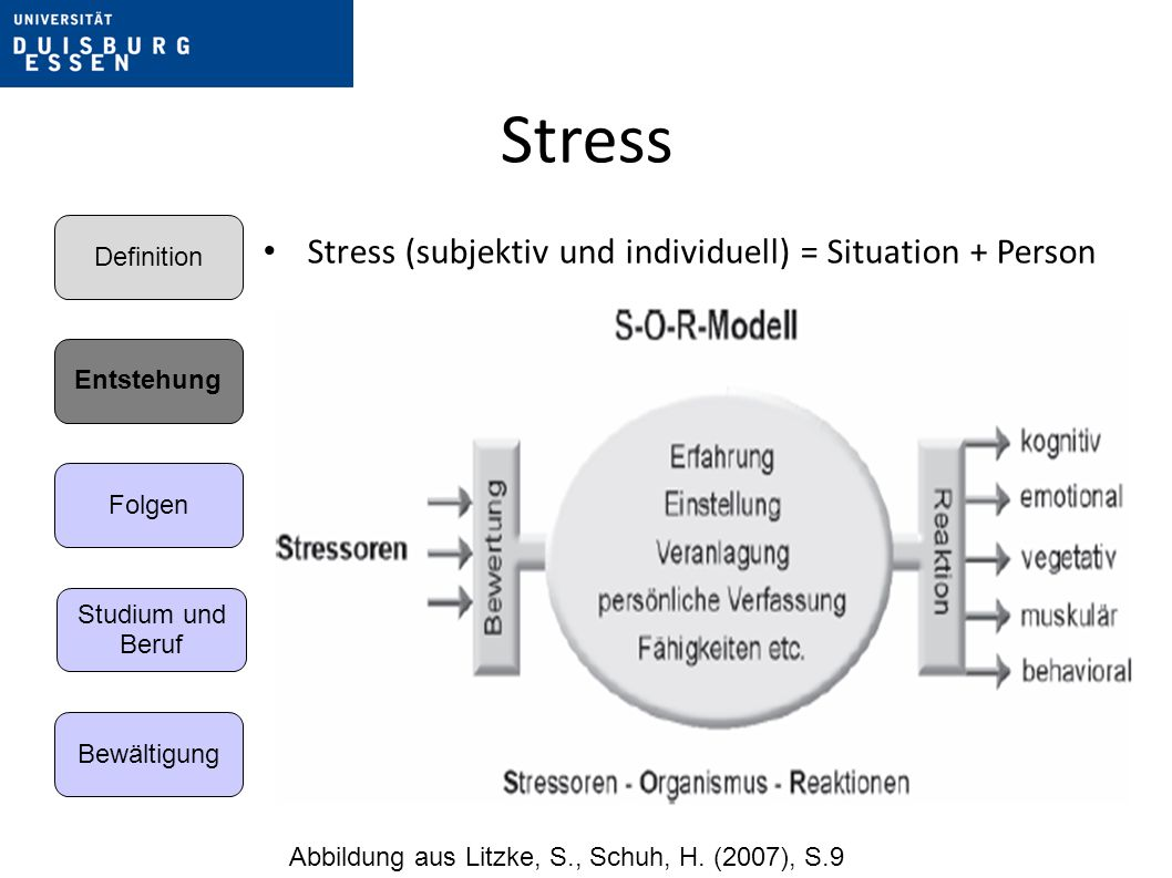 Stress Stress (subjektiv und individuell) = Situation + Person